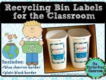 Recycling Bin Labels (EDITABLE): Create Custom Bins for Your Classroom