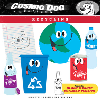 Recycling Clip Art Fun Cartoon Set