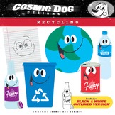 Recycling Clip Art Fun Cartoon Set