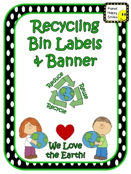 Earth Day: Recycling Center Labels Black and White Polka Dots