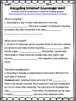 Recycling Internet Scavenger Hunt WebQuest Activity