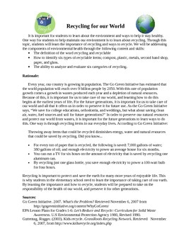 Recycling Lesson Plans for Language Arts, Math, Science, and Social Studies
