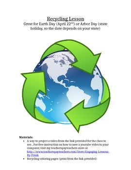 Recycling Lessons with common core 1-5 days to teach great for Earth Day & Arbor