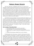 Recycling Reading Comprehension Passage & Quiz (Editable)