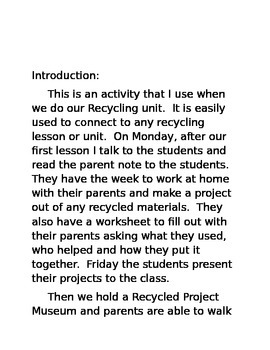 Recycling Project Family Engagement