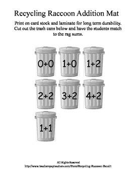 Recycling Raccoon Addition Mat Kindergarten Math Numbers Freebie