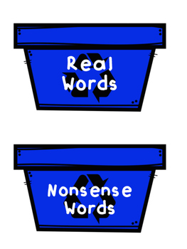 Recycling Real vs. Nonsense CVC Words Activity