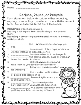 Recycling- Reduce, Reuse, Recycle Classifying Activity