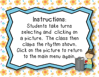Recycling Rhythms - Interactive Reading Game Practice Ta, ti-ti (Kodaly Review)