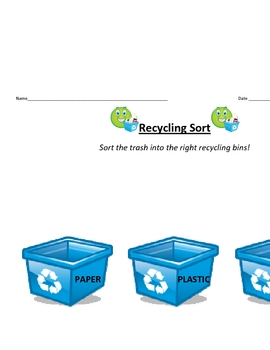 Recycling Sort - Paper, Plastic, Glass