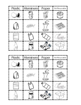 Recycling Sorting activity (2 per page)