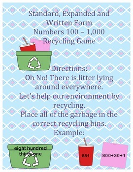 Recycling Standard, Expanded, and Written Form - Numbers 100 - 1,000