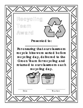 Recycling Student of the Month Award