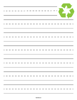 Recycling Symbol Primary Lined Paper