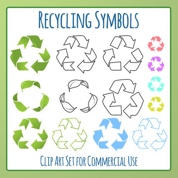 Recycling Symbols Clip Art Set for Commercial Use