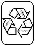 Recycling Template for Art Project Earth Day Reduce Reuse Recycle Coloring Page