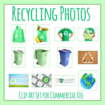 Recycling Theme Photos Clip Art Set for Commercial Use