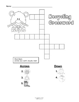 Recycling Themed Puzzles for 1st and 2nd Grades