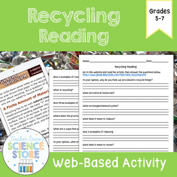 Recycling Web-Quest Reading Activity