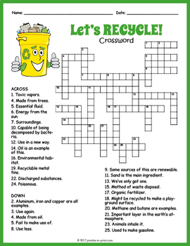 photograph regarding Earth Day Crossword Puzzle Printable named Globe Working day Worksheet - Recycling Crossword Puzzle via Puzzles