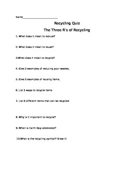 Recycling quiz or test