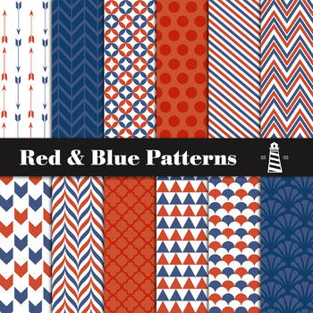 Red And Blue Digital Paper Pack | Scrapbook Paper | Blue & Red Patterns