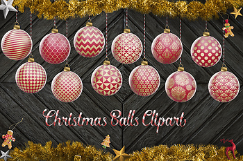 Christmas Tree Decoration Clip Art, Red And Gold Christmas Balls, X-Mas Baubles