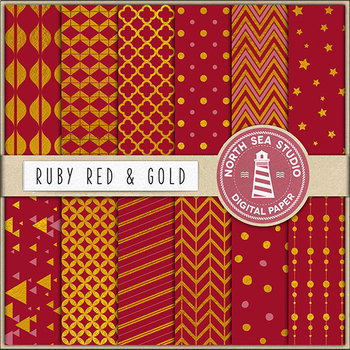 Red And Gold Digital Paper, Gold Patterns, Red Backgrounds