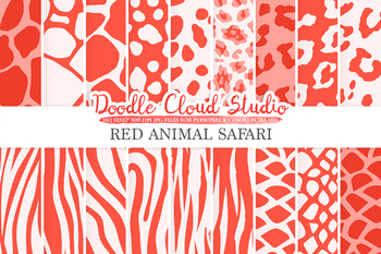 Red Animal Safari digital paper, Animal Scarlet Fur pattern, Tiger stripes