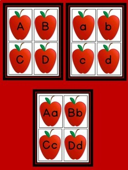 Red Apple Alphabet Letter Flashcards Uppercase and Lowercase