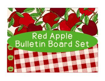 Red Apple Bulletin Board Border Printable Full Color PDF
