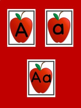 Red Apple Full Page Alphabet Letter Posters / Word Wall Headers