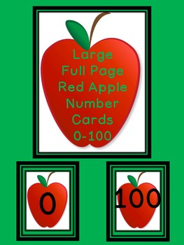 Red Apple Full Page Number Posters 0-100