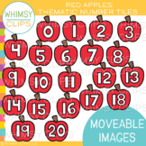 Red Apple Number Tiles Clip Art {MOVEABLE IMAGES}