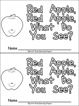 Red Apple, What Do You See Emergent Reader for Kindergarte