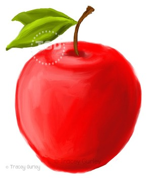 Red Apple clip art, Printable Tracey Gurley Designs