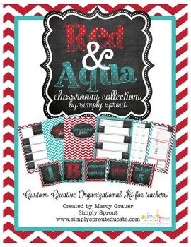 Red & Aqua Printable Classroom Collection Design Kit