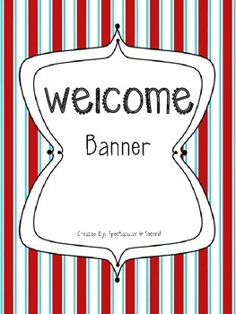 Red & Aqua Striped Welcome Banner