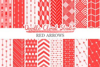 Red Arrows digital paper, Scarlet Arrow patterns, tribal, archery, chevron
