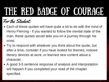 Red Badge Of Courage Quote Response Journal Prompts