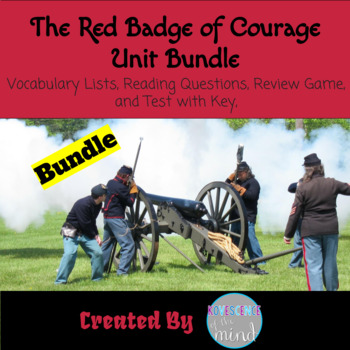 Red Badge of Courage Bundle: Civil War tale The Red Badge of Courage by Stephen Crane  Includes reading guide includes sections for analysis of the three main characters and for compare and contrast notes on the North and South. Take students into a deeper look at the novel.  24 challenging words from the novel for students to define and use. This can be an individual or group assignment. It works well as part of prereading.  45 question editable test on The Red Badge of Courage Test. This test includes true/false, multiple choice, short answer, and essay questions. Basic plot and interpretation/inference questions. Answer key is included