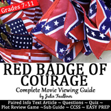Red Badge of Courage Movie Viewing Pack, Worksheet, Quiz, Prompts
