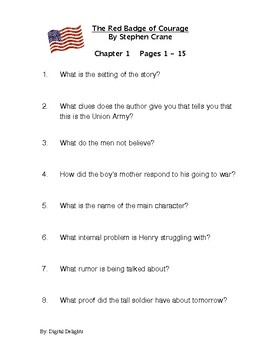 Red Badge of Courage Reading Comprehension Questions