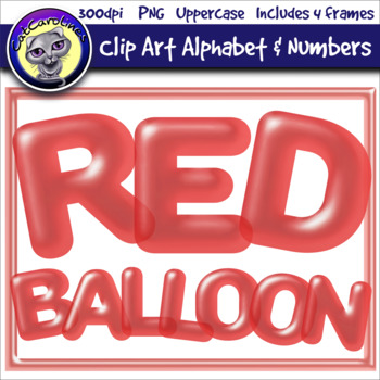 Red Balloon Clip Art Alphabet Letters & Frames
