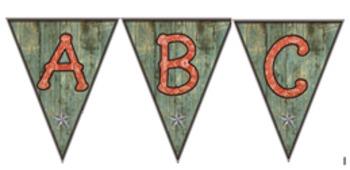 Red Bandana Capital Letters on Barnwood - Pennants