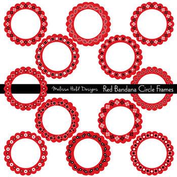 Clipart: Red Bandana Patterns Circle Frames Clip Art