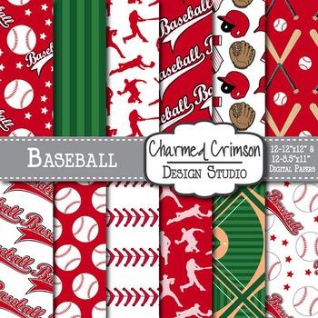 Red Baseball Digital Paper 1464