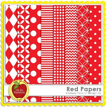 Red Basic Digital Papers