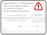 Parent Communication Red Behavior Note Home
