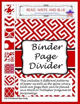 Red Binder Cover or Page Dividers